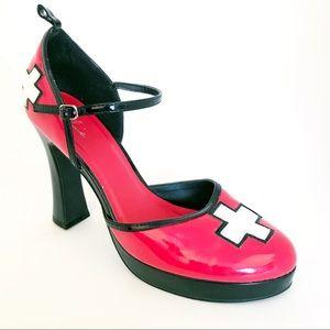 Ellie Red Cross Platform Block Heel Size 10